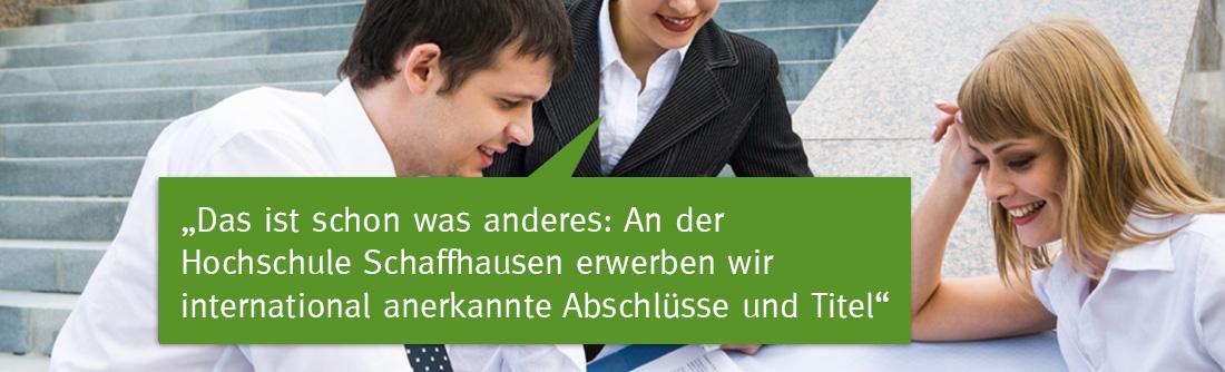 Studium an der Hochschule Schaffhausen